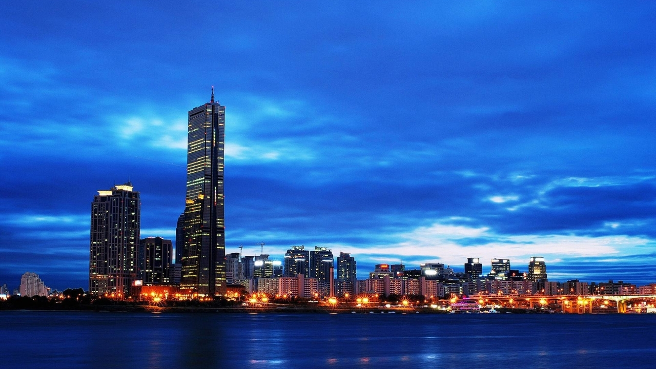 gorgeous seoul river view in night wallpaper in city world wallpapers 150