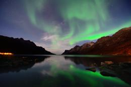 Norway, night, mountains, bay, star, northern lights, reflection 1688
