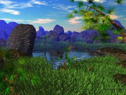 pond,lake,grass,boulders, rocks,trees,bonsai,landscape, natual,boulder 1078