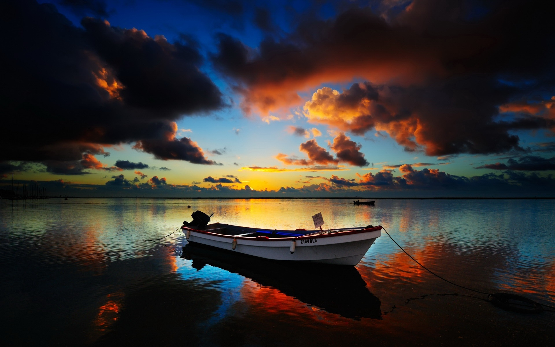 Download Personal Boats wallpaper, \'boat on lake in the twilight\' 1961