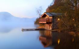 Misty Lake Boathouse Windows 8 Wallpaper wallpapers x 1488