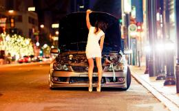 Girl In The White Dress Fixing Car Hd Wallpaper | Wallpaper List 1147