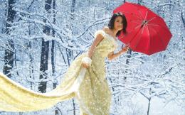 beautiful, dress, forest, girl, pretty, red, snow, trees, white, woman 825