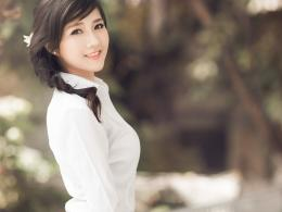 Pretty asian girl in white shirt wallpaper in People wallpapers 949