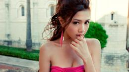 Download Pretty asian girl in pink dress biting her finger wallpaper 484