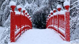 Red Japanese Bridge Winter Wallpaper 1920x1080 Red, Japanese, Bridge 901