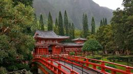 Red bridge at Japanese Temple wallpaper 1930