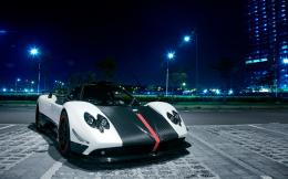 Pagani Zonda Cinque sports car at Singapore city night 1920x1200 152