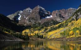 lake trees landscape nature rocks Colorado USA autumn wallpaper 1966