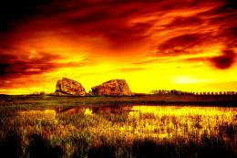 Sunset lake landscape rocks nature:High Contrast 782