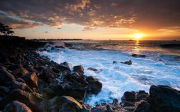 Rugged Coast In Hawaii At Sunset Hd Wallpaper | Wallpaper List 1611