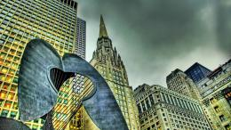 Sculpture Amongst Skyscrapers Hdr wallpaper 318