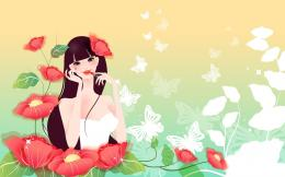 drawing girl flowers poppies red lipstick butterfly wallpaper 1204