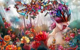 women girl butterfly lips face psychedelic nature wallpaper background 114