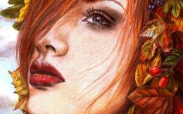 painting girl face makeup eyes red lips hair leaves berries wallpaper 664