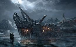 Download wallpaper night, ship, skeleton, town free desktop wallpaper 318