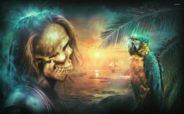 Skeleton pirate looking at a macaw wallpaperFantasy wallpapers 547