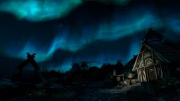 Northern Lights Night Skyrim Elder Scrolls Stars wallpaper background 405