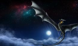 dragon chinafantasy Milky Way night moon stars flight smoke wallpaper 128