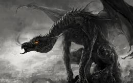 Wallpaper art, dragon, monster, black and white, monochrome, smoke 1489