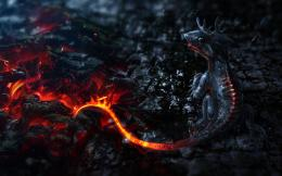 Artwork Small Dragons Tails Fire Lava Smoke Magma Ashes Wide Wallpaper 679