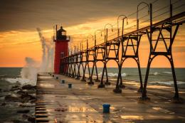 Wallpaper usa, michigan, south haven, lake michigan, pier, lighthouse 479