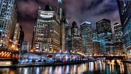 Chicago skyline and river at night | Widescreen and Full HD Wallpapers 1981