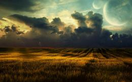 Storm is coming over the field wallpaper 1478