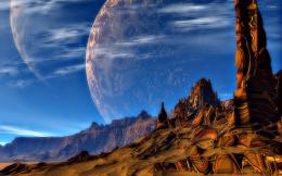 Amazing planets above the canyon wallpaperFantasy wallpapers 805
