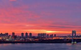 Pink sunset over the city wallpaper #22462 607