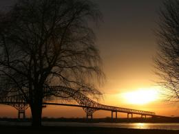 Sunset over a bridge wallpapers | Sunset over a bridge stock photos 139