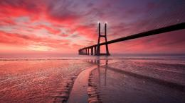Glorious Pink Bridge In Sunset Hd Wallpaper | Wallpaper List 982