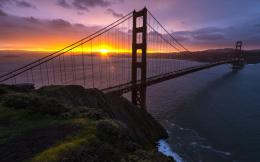 Gate Bridge San Francisco bay ocean sea roads sunset sky wallpaper 1349