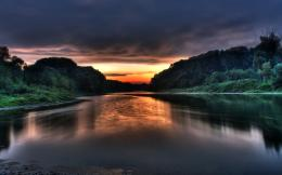 Sunset over river wallpaper #1113 247