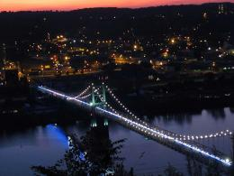 Sunset over the bridge west virginia ohio:Mirror effect 1792