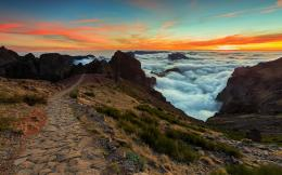 Path Hills Clouds Sunset wallpapers | Rocky Path Hills Clouds Sunset 1192