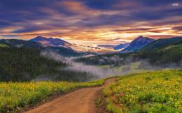 Amazing Valley Path Sunset Fog wallpapers | Amazing Valley Path Sunset 1853