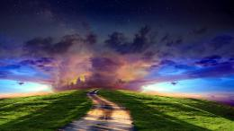 clouds sunset sky stars roads path trail landscapes wallpaper 1137