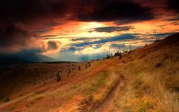 sunset sunrise glow color scenic path track trail wallpaper background 256