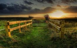 Sunset On A Fenced Path In The FieldsHD Wallpaper, get it now! 1523
