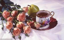 Download wallpaper tea, Flowers, Rose, pear free desktop wallpaper in 1672