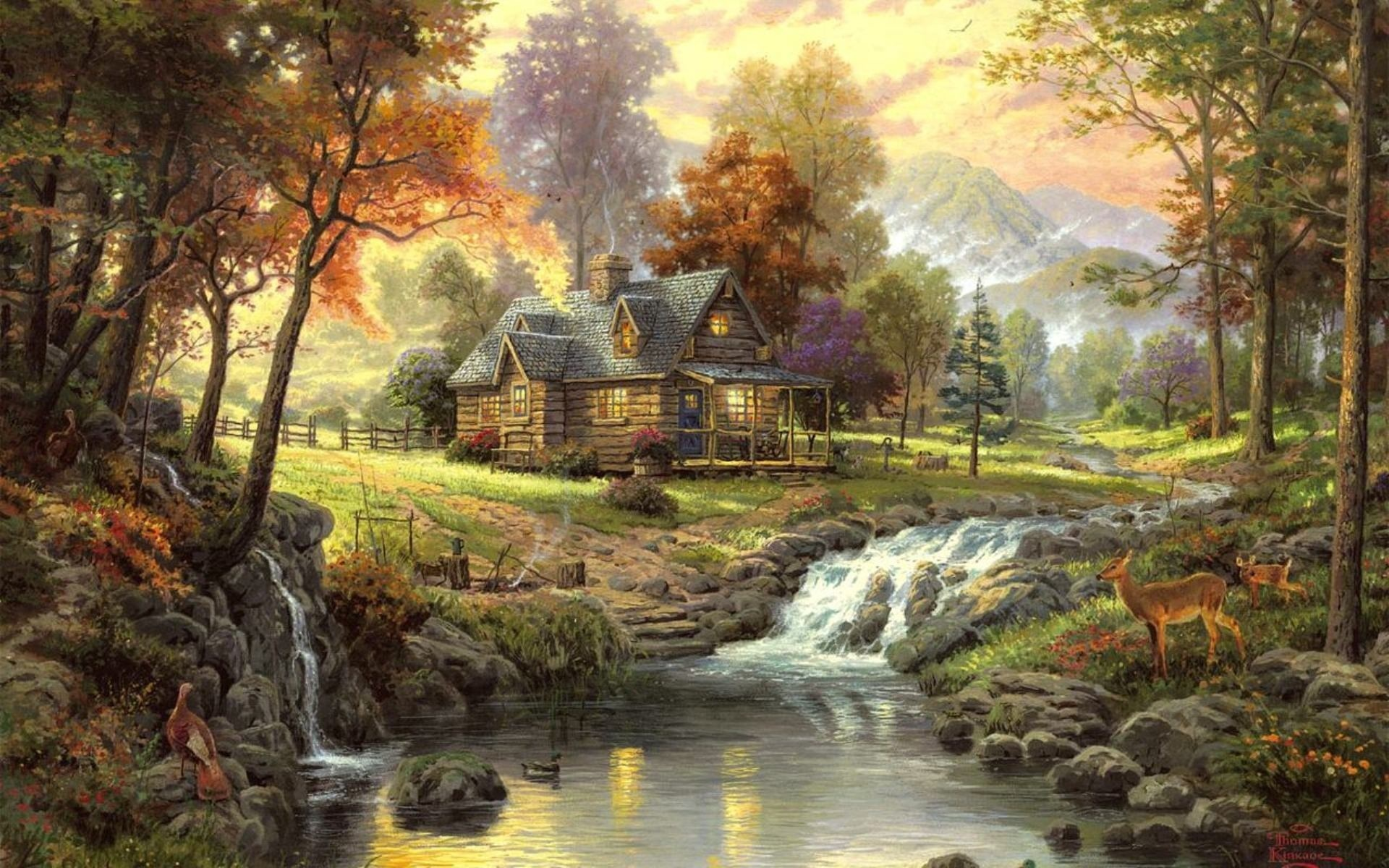 thomas kinkade paintings nature landscapes trees autumn fall seasonal 1049