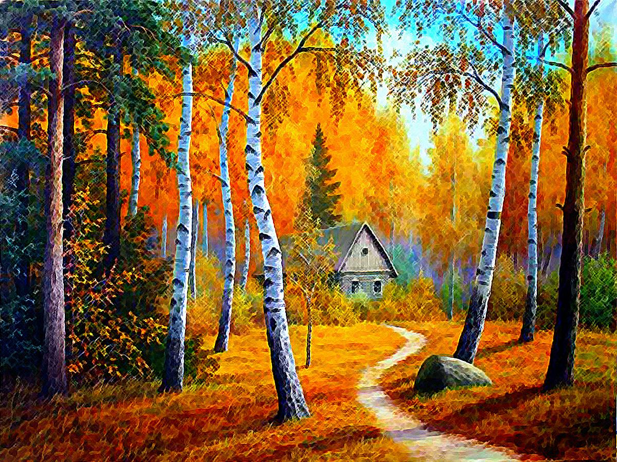 Cabin the woods painting beauty path fall wallpaper 936