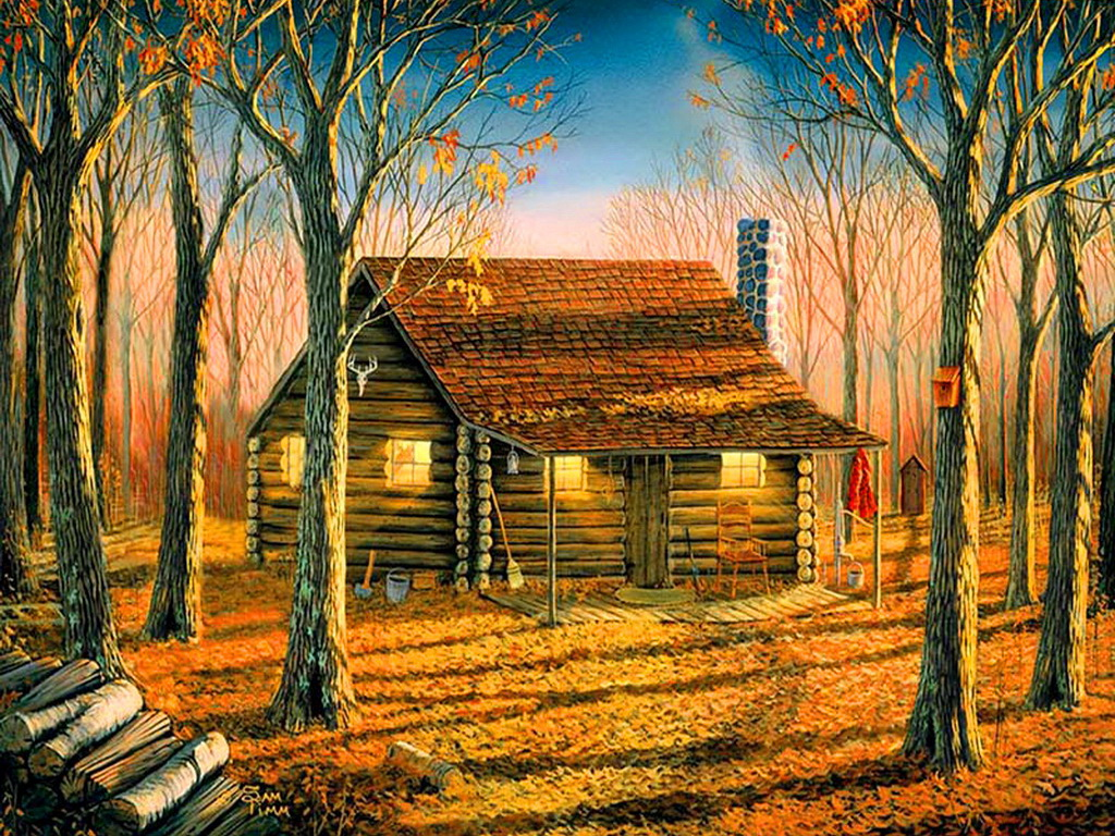 Woodland cabin cottage foliage autumn calm HD Wallpaper 278