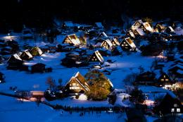 Wallpaper shirakawa go, hokama, island honshu, japan, night, lights 436