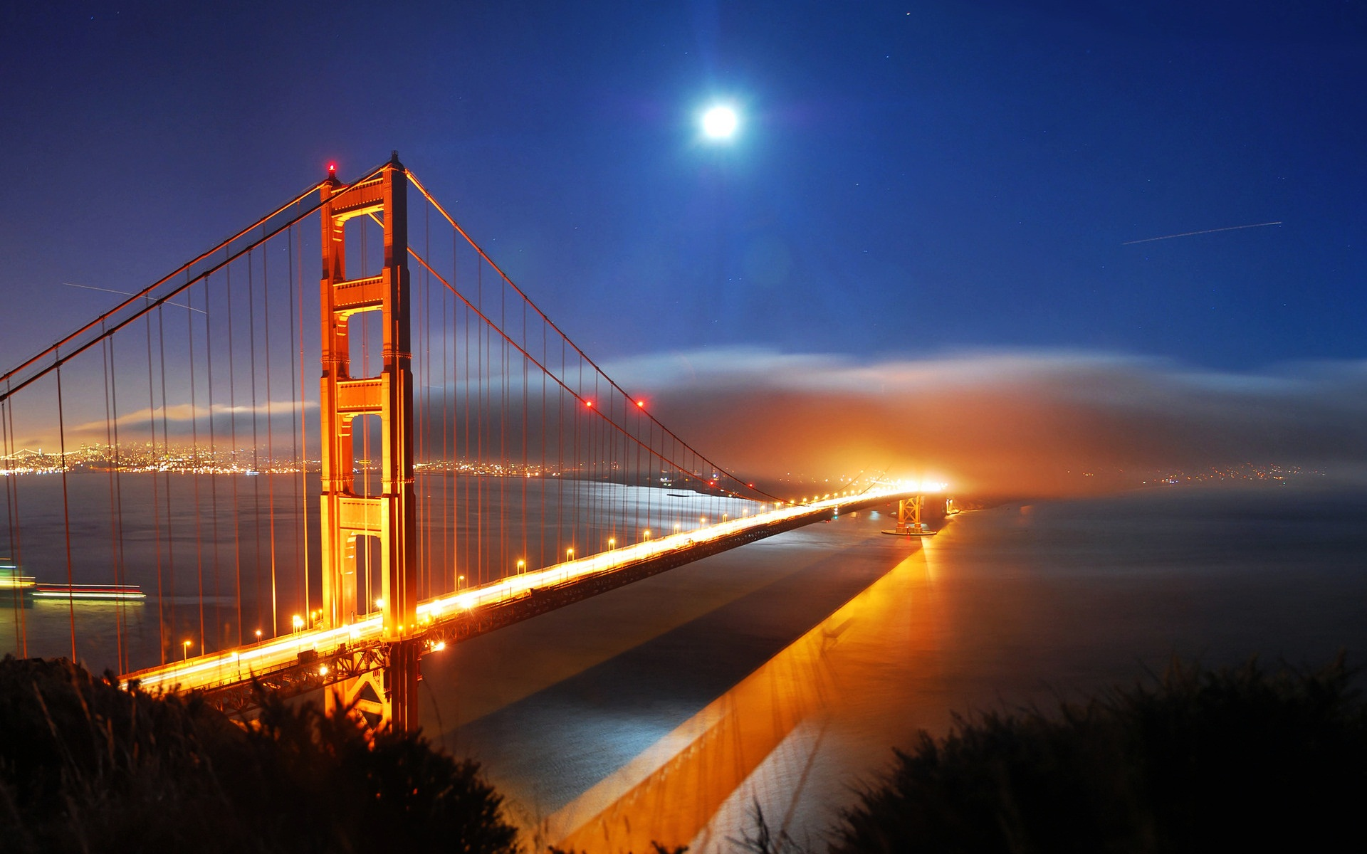 """Download this \""""The bay bridge by night\"""" wallpapers and place them on 1374"""