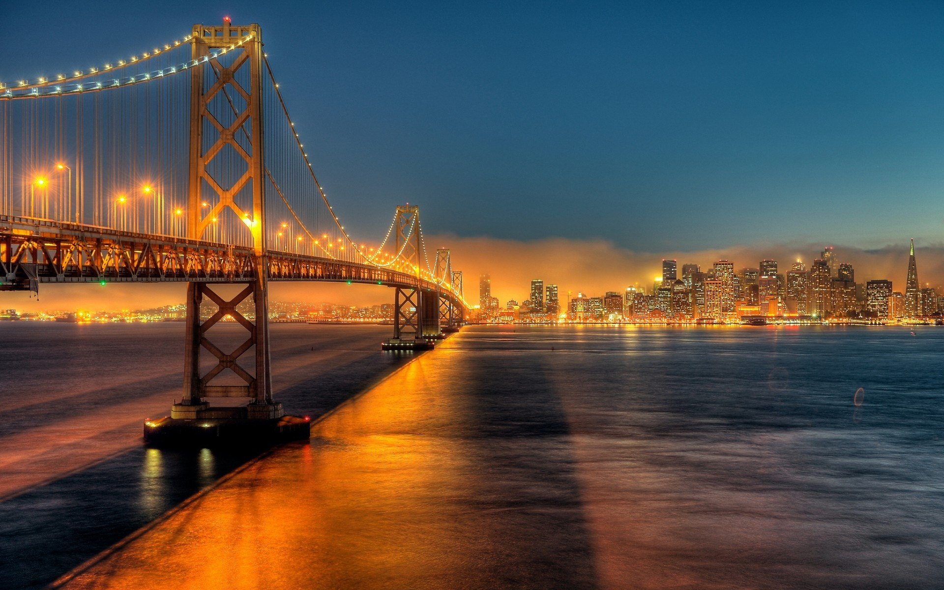 Bay Bridge, city, night, lights, bridge desktop wallpaper » World 1271