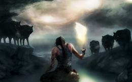 Wallpaper tomb raider, lara croft, lara croft, torch, fire, wolves 857