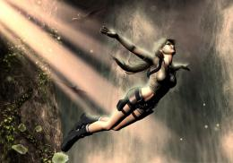 game in raider, lara croft, girl, fantasy, forest, waterfall, art, hd 558