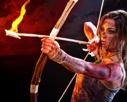 Tomb Raider, Lara Croft, cosplay, girl, bow, arrow, fire wallpaper 976